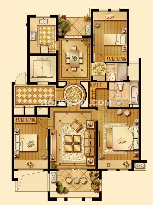 华润置地橡树湾LUX公寓5#、6#楼D户型3室2厅3卫1厨 140.00㎡