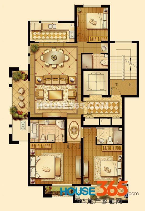 华润置地橡树湾LUX公寓5#、6#楼A户型3室2厅2卫1厨 130.00㎡