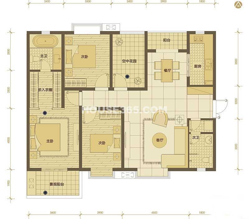 普华浅水湾11、12号楼G户型3室2厅2卫1厨 142.00㎡