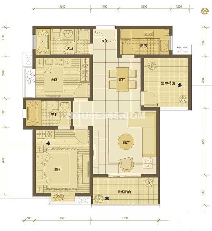 普华浅水湾11号楼H户型2室2厅2卫1厨 110.00㎡