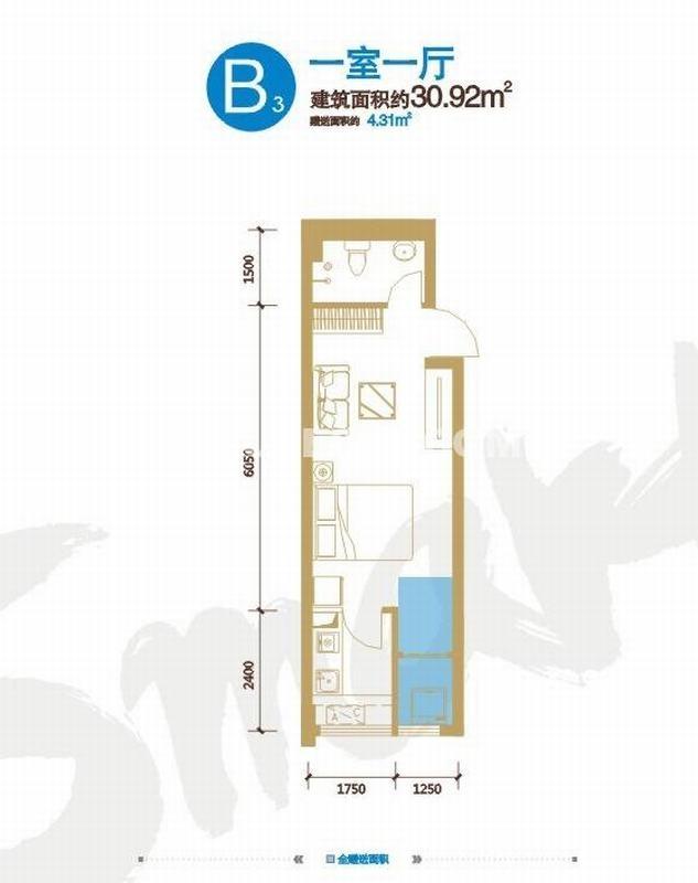 锦业时代Smart公馆B3户型一室一厅一厨一卫30.92㎡