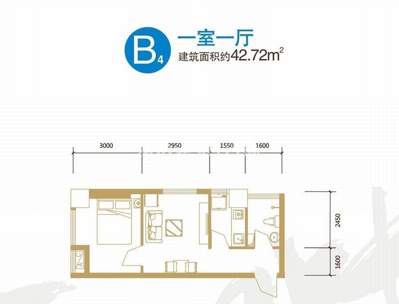 锦业时代Smart公馆B4户型一室一厅一厨一卫42.72㎡