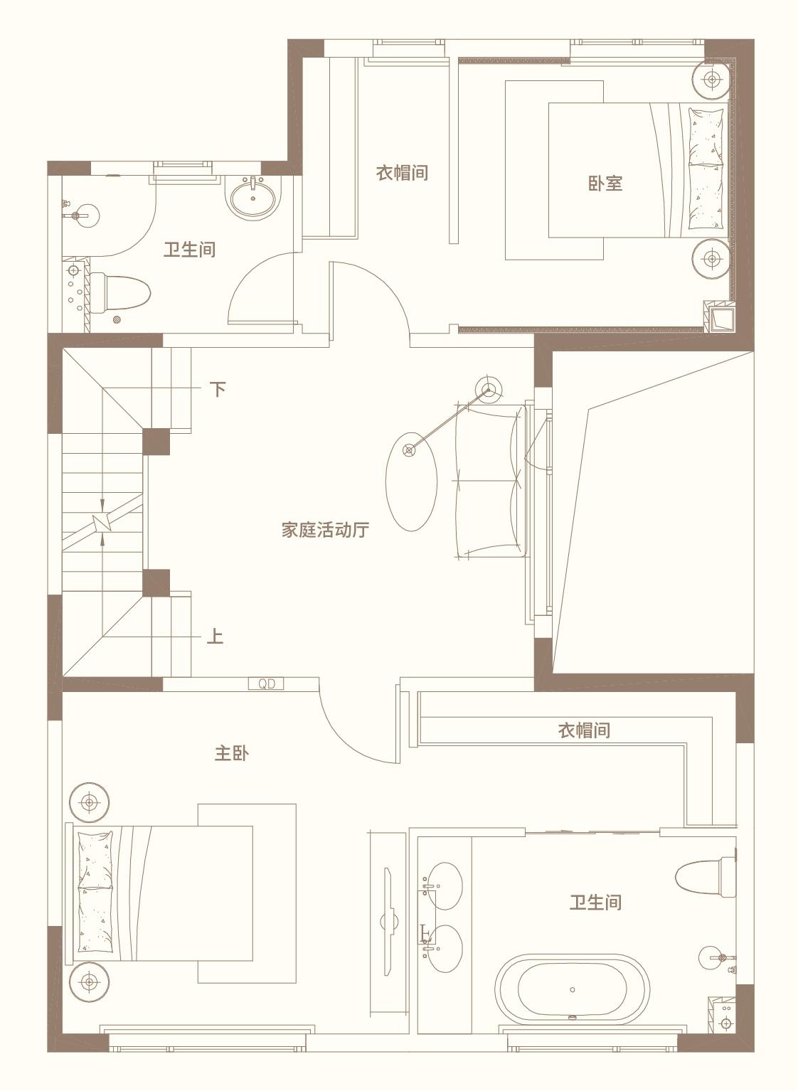 别墅五室四卫三厅220平米 二层