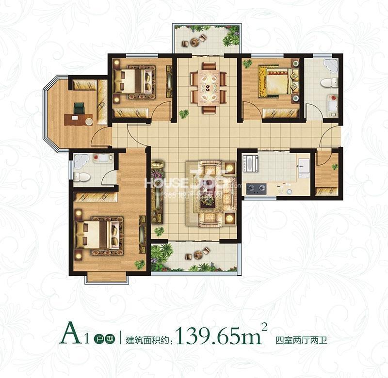 万象春天A1户型四室两厅两卫约139.65㎡
