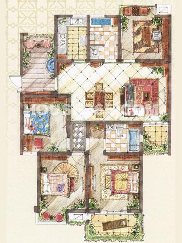 D3户型,面积约143平米,4房2厅2卫+入户花园