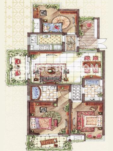 C5b户型,面积约131.38平米,3房2厅2卫+入户花园