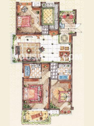 C2户型,面积约133平米,3房2厅2卫+入户花园