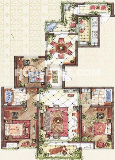 C3户型,面积约146.57平米,3房2厅2卫+入户花园