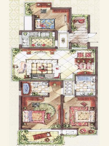 C5a户型,面积约118.57平米,3房2厅2卫+入户花园