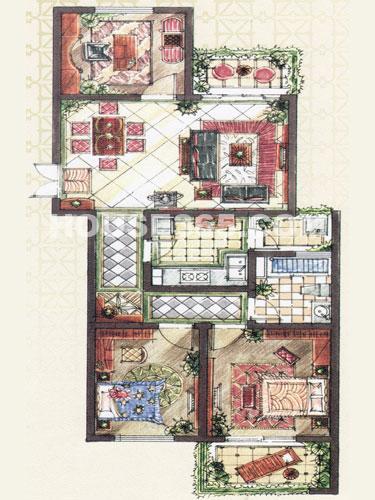 B2户型,建筑面积约111.82平米,3房2厅1卫