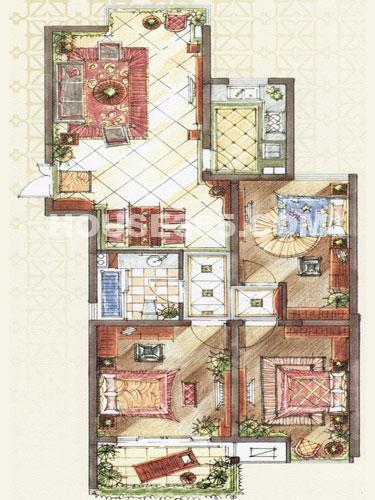 B1户型,建筑面积约120.77平米,3房2厅1卫