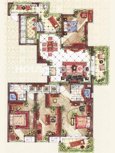 D2户型,面积约173.93平米,4房2厅2卫+入户花园