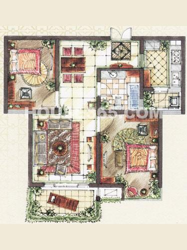 A2户型,面积约88.10平米,2房2厅1卫