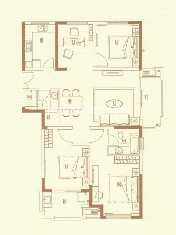 12#13#14# 甲单元01室 四室二厅一卫
