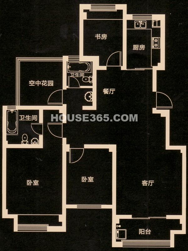B户型 三房二厅二卫+空中花园