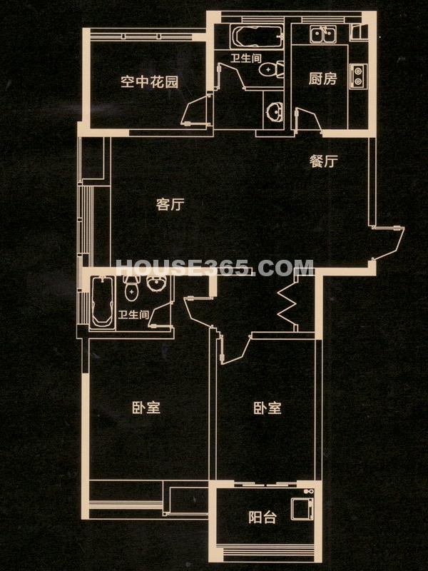 E户型 二房二厅二卫+空中花园