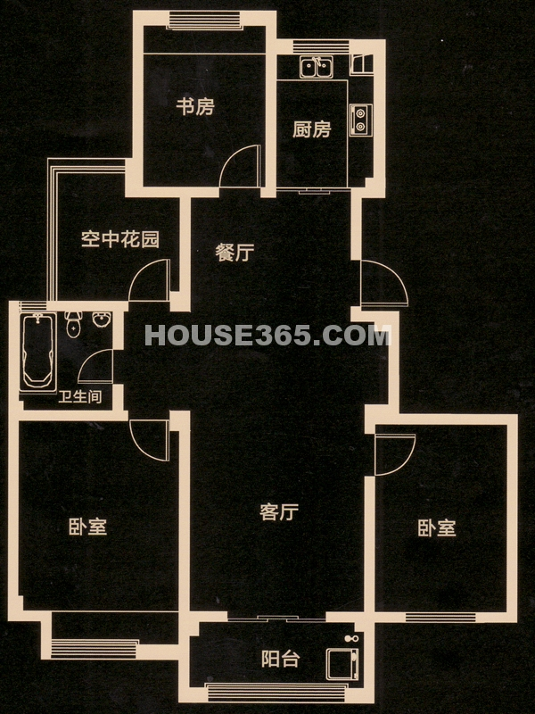 C户型 三房二厅一卫+空中花园