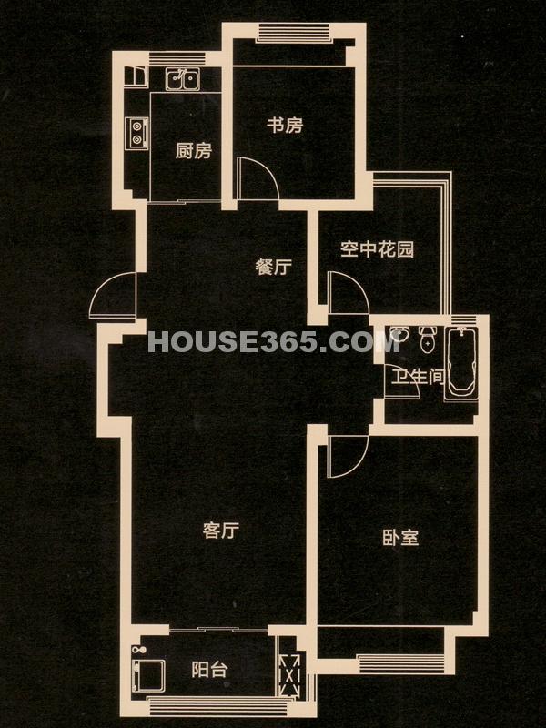 D户型 二房二厅一卫+空中花园