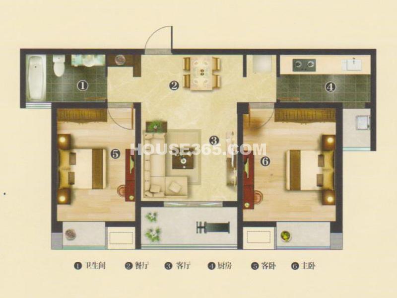 1#楼B2户型阳光2房-两房两厅一卫