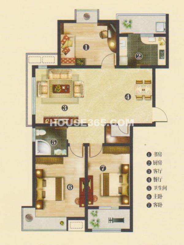 3#楼C3户型鸿儒3房-三房两厅一卫