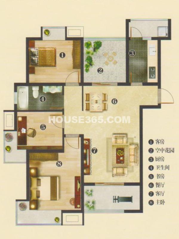 1#2#楼C2户型典雅3+1房-三房两厅一卫