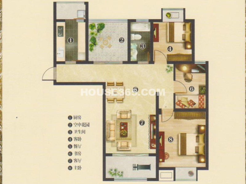 1#楼C1户型书香3+1房-三房两厅一卫