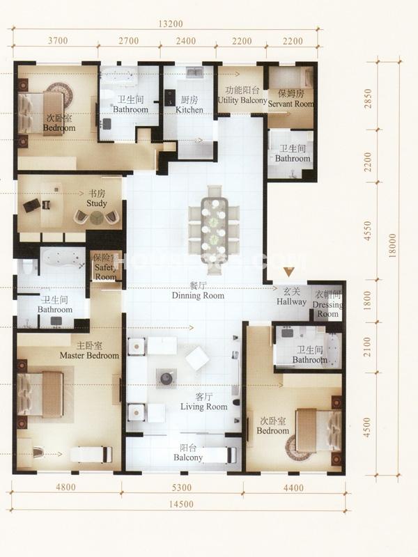 130平米的房子四房一庁一卫一楼梯,便宜户型图设计图,农村住的图片