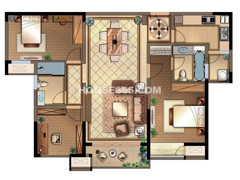 国3号 M户型 3室2厅2卫