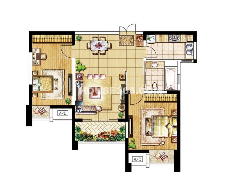 B户型-两房两厅一卫89.62㎡