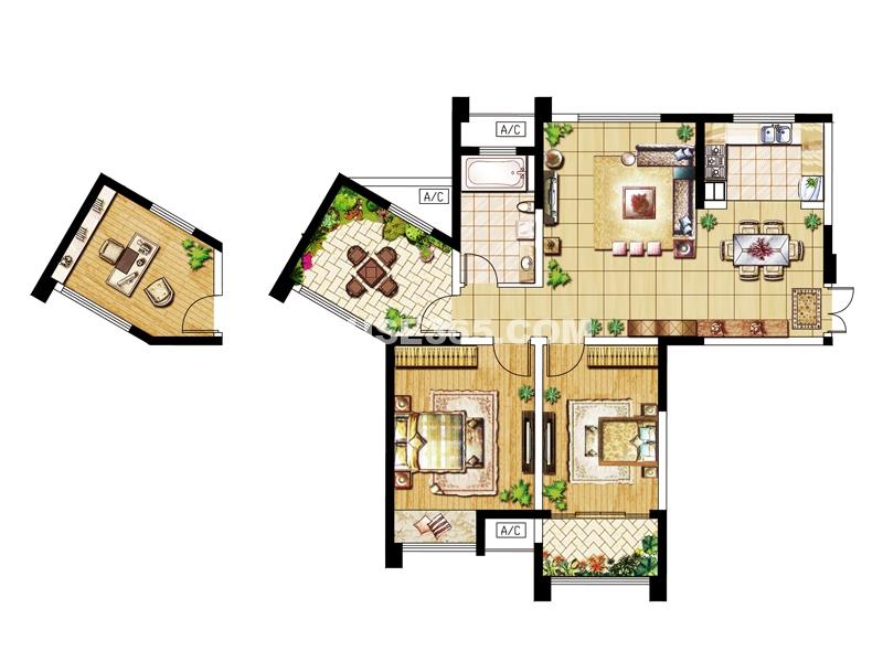 D户型-三房两厅一卫108.38㎡