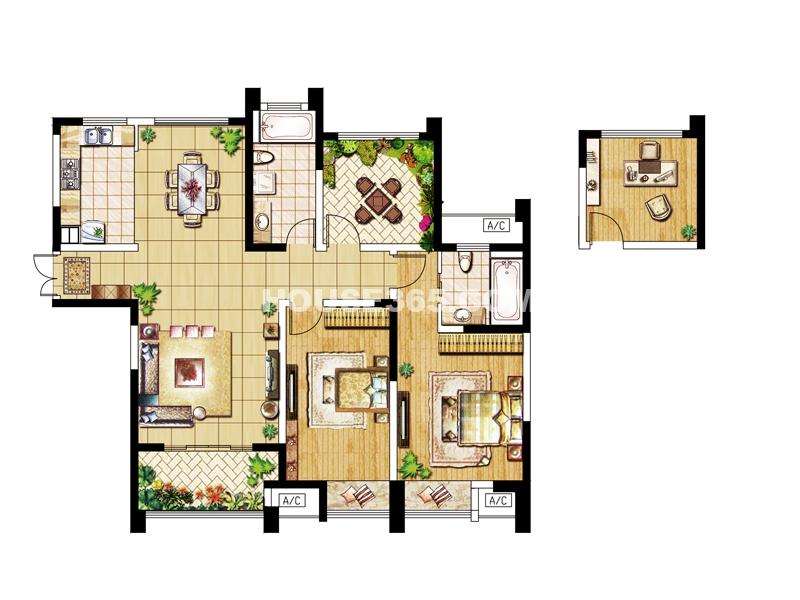 C户型-三房两厅两卫130.99㎡
