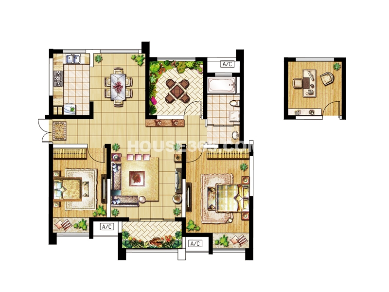 E户型-三房两厅一卫111.55㎡
