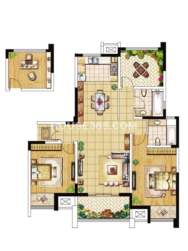 10#楼F户型-三房两厅两卫125-128㎡