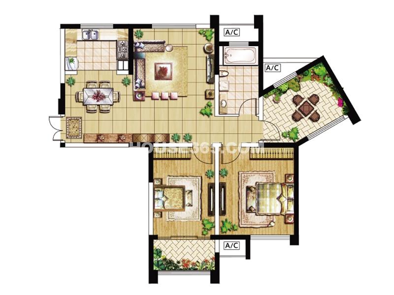10#楼D1户型-三房两厅一卫113㎡