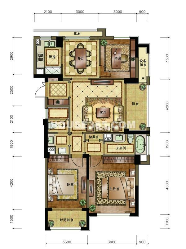 C2户型 3室2厅2卫