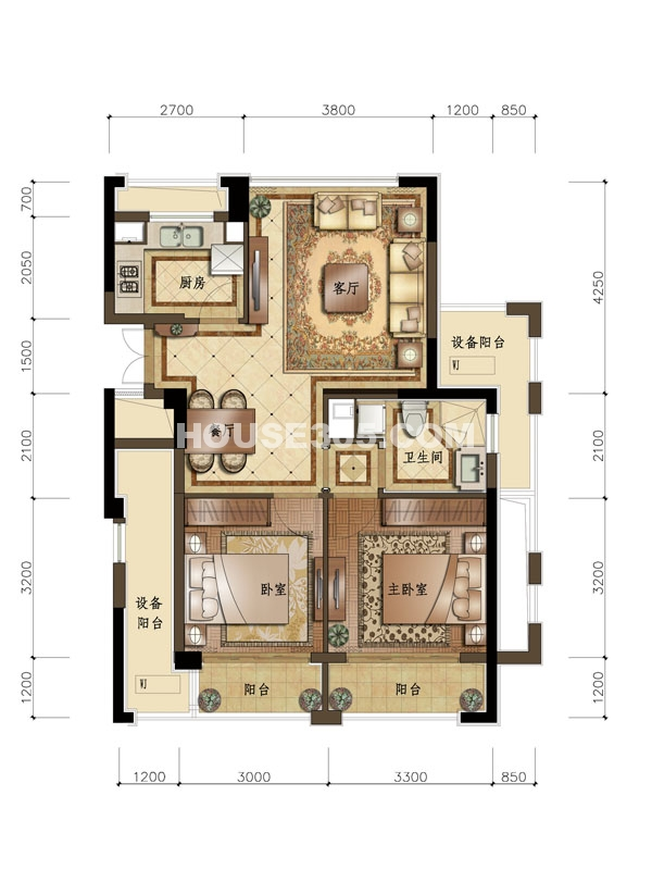 B1户型 2室2厅1卫