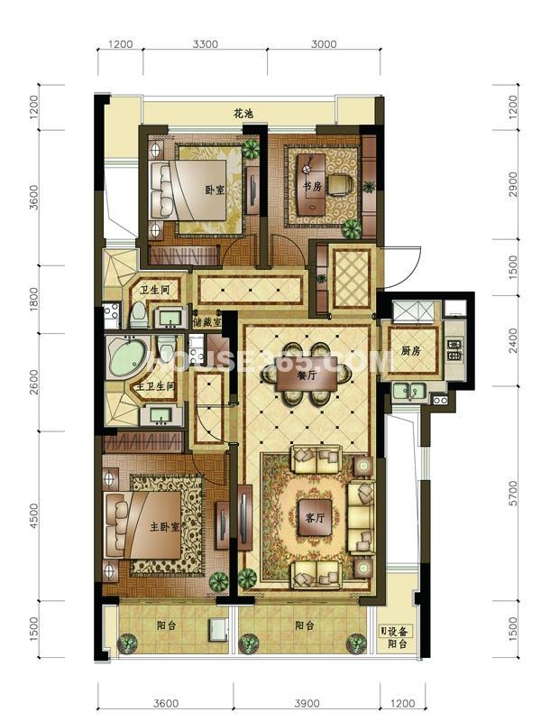 C1户型 3室2厅2卫