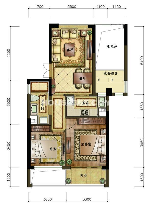 B3户型 2室2厅1卫