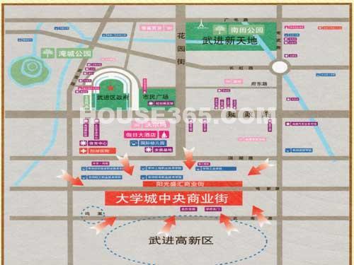 大学城中央商业街交通图