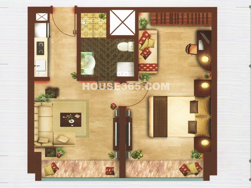 C户型 一室两厅一卫一厨