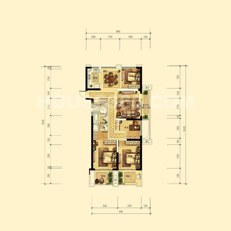 中天官河锦庭C户型(带尺寸) 2、3、4、6号楼奇数层边套 138㎡(赠送11方)4室2厅1卫