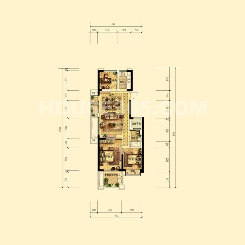 中天官河锦庭B户型(带尺寸) 1、2、3、5、6号楼奇数层边套 89㎡(赠送12方) 3室2厅1卫