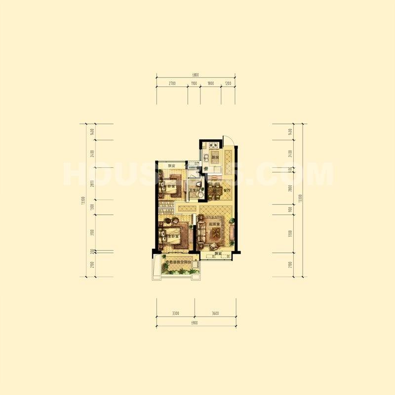 中天官河锦庭A户型(带尺寸) 2、5号楼奇数层中间套 73㎡(赠送10方)2室2厅1卫