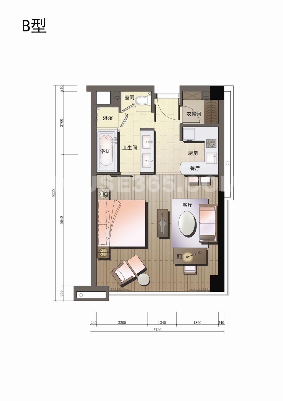 丁兰广场B户型70方(一室二厅一卫)