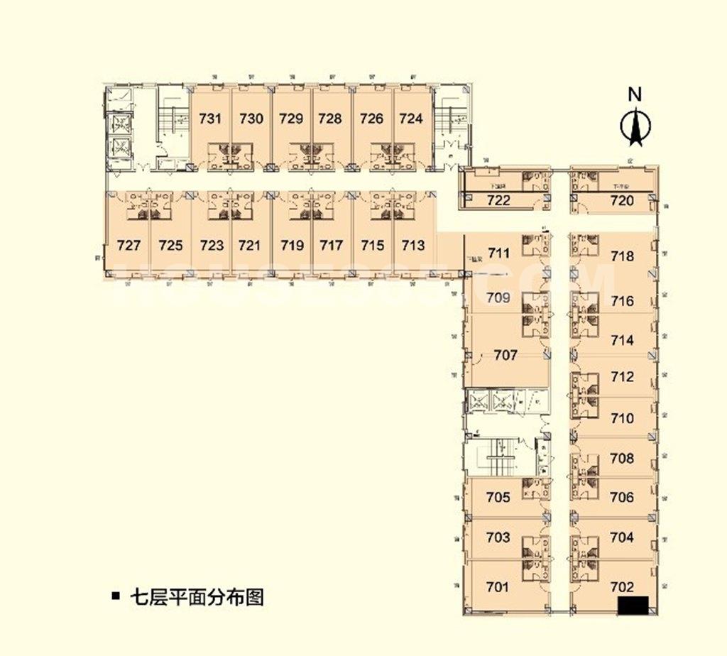 丁兰广场7层楼层户型图(共31套,为50、70、90平三个户型)