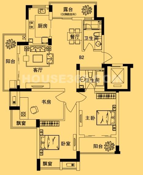 名城燕园120方户型参考图