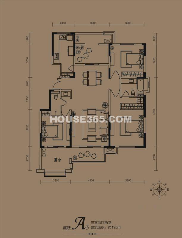 华远海蓝城一期A3户型3室2厅2卫1厨 135.00㎡
