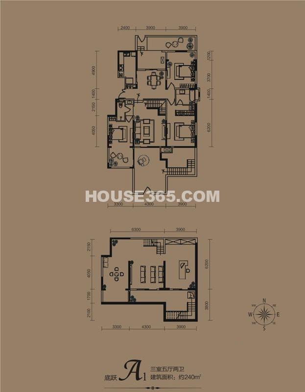 华远海蓝城一期A1户型3室5厅2卫1厨 240.00㎡