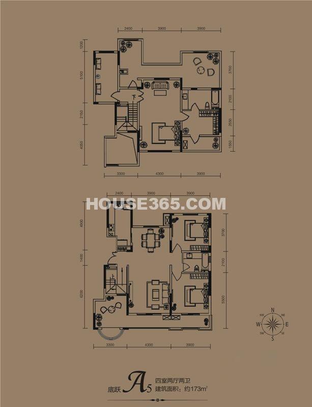 华远海蓝城一期A5户型4室2厅2卫1厨 173.00㎡