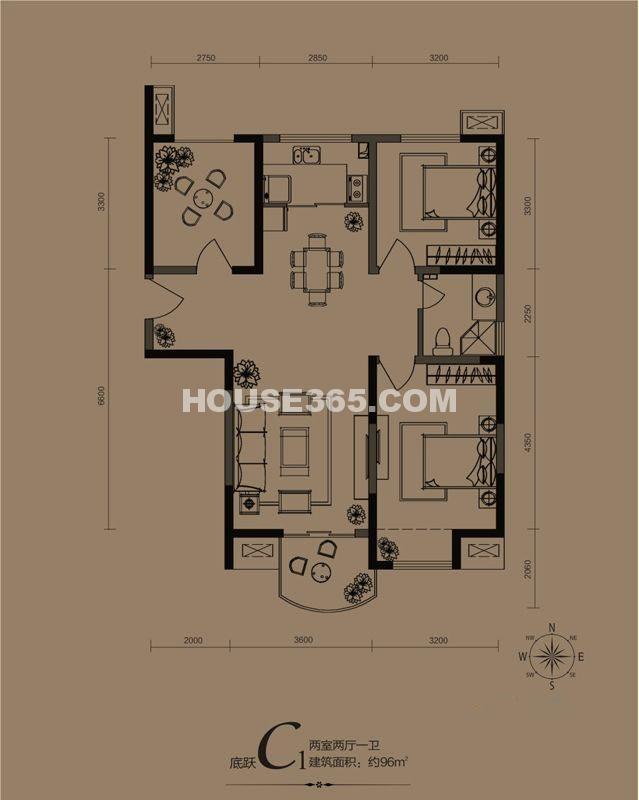 华远海蓝城一期C1户型2室2厅1卫1厨 96.00㎡